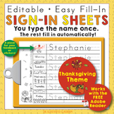 Morning Work Name Writing Practice Sign In Sheets - Thanksgiving Theme