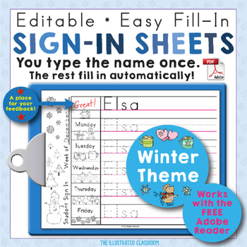 Morning Work Name Writing Practice Sign In Sheets - Winter Theme