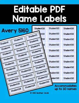 editable printable auto fill name labels 5160