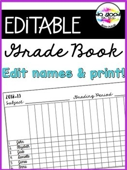 Editable Printable Gradebook