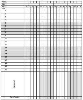 Editable, Printable Gradebook Template