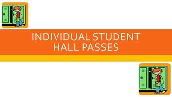 Editable & Printable Individual Student Hall Passes