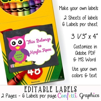 Editable Printable Labels Cute Chalkboard Girl Owl Name Stickers School Supplies