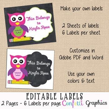 Editable Printable Labels Cute Chalkboard Girl Owl Name Stickers School Supplies