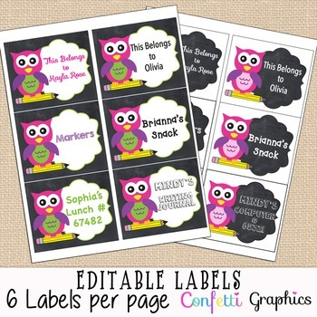 Editable Printable Labels Cute Chalkboard Girl Owl Name St