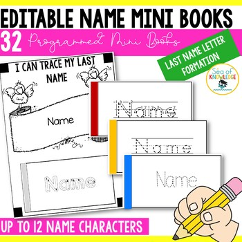 Editable Printable Last Name Mini Books Name Alphabet Letter Formation