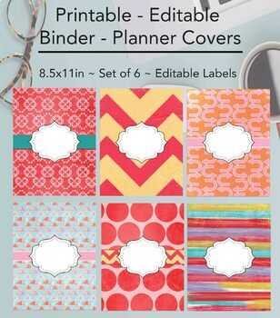 image about Binder Covers Printable titled Editable Printable Monogram Binder Handles Spines Mounted of 6