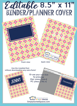 graphic regarding Planner Cover Printable identify Editable Printable Monogram Binder / Planner Go over - entrance and again