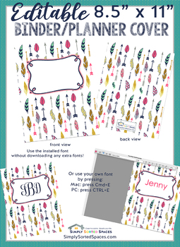 image relating to Planner Cover Printable titled Editable Printable Monogram Binder / Planner Include - entrance and again