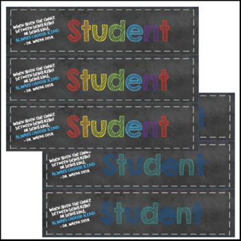 Editable & Printable Student Name Tags - Always Choose Kind