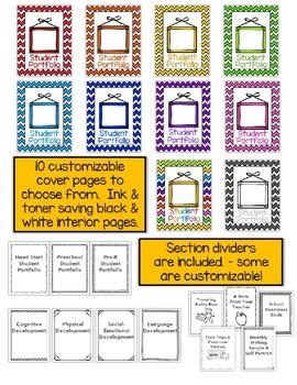picture about Printable Portfolio titled University student Portfolio Editable Printable PowerPoint Preschool Pre-K Mind Start off