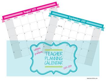 Editable Teacher Planning Calendar 2013-2014