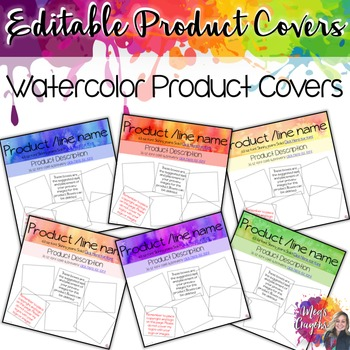 Editable Product Covers- Watercolor
