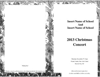 Editable Program for Christmas Concert Chorus or Band