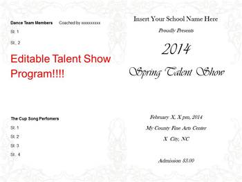 Editable Program for Spring Talent Show or Concert
