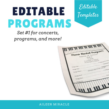 Editable Music Programs {Templates for programs, concerts, plays, and more}