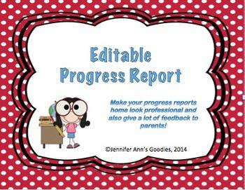 Editable Progress Report