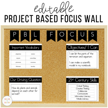Editable Project Based Learning Focus Wall