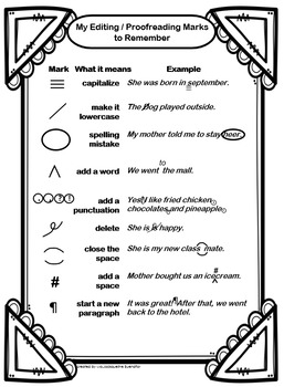 Editable Proofreading Marks