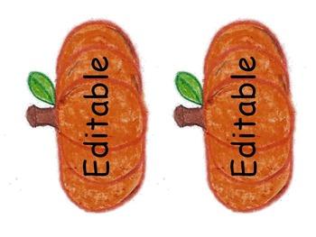 Editable Pumpkin Fall Labels