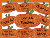 Editable Pumpkin Fall Labels
