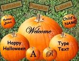 Editable Pumpkin Fall Labels Home Classroom