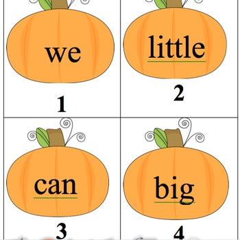Editable Pumpkin Sight Word Search