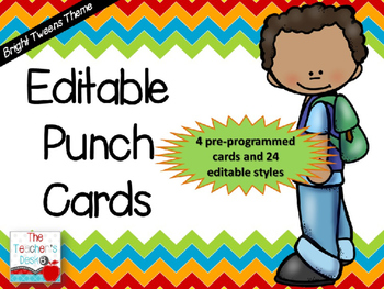 Editable Punch Cards Bright Tweens Theme