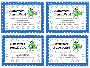 Editable Punch Cards Polka Dot Monster Theme