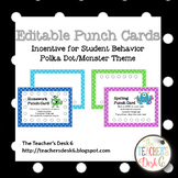 Editable Punch Cards Polka Dot Monster Theme