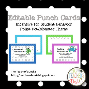 graphic regarding Free Printable Punch Cards referred to as Editable Punch Playing cards Polka Dot Monster Concept