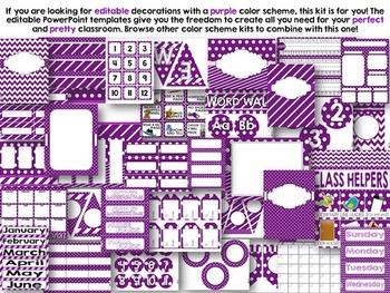 Editable Purple Color Scheme Class Decor Kit