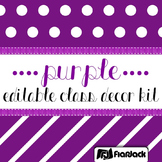 Editable Purple Color Scheme Class Decor Kit