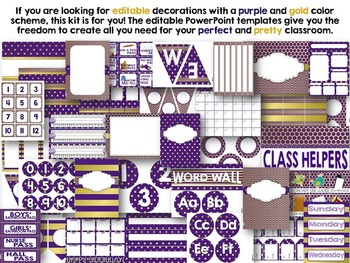 Editable Purple Gold Color Scheme Class Decor Kit