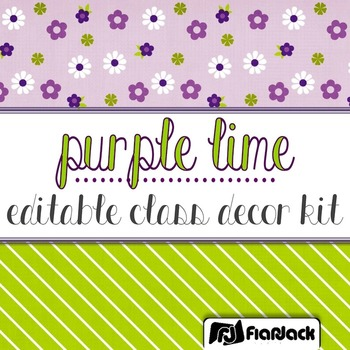 Editable Purple Lime Class Decor Kit