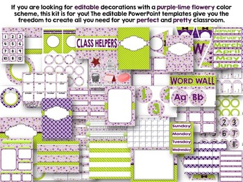 Editable Purple Lime Class Decor Kit