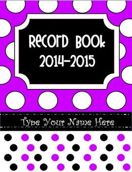 Editable Purple Polka Dot Record Book/ Teacher Binder