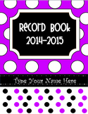 Editable Purple Polka Dot Record Book/ Teacher Binder