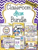 Editable Classroom Decor Bundle Polka Dot Chevron Theme