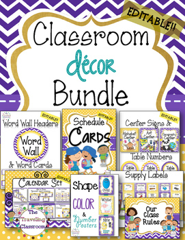 50% off!! Editable Classroom Decor Bundle (Polka Dot Chevr