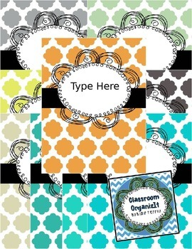 {Editable} Quatrefoil Binder Covers w/Doodle Frames! Set 1
