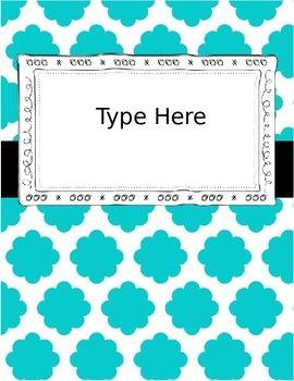 {Editable} Quatrefoil Binder Covers w/Doodle Frames! Set 3