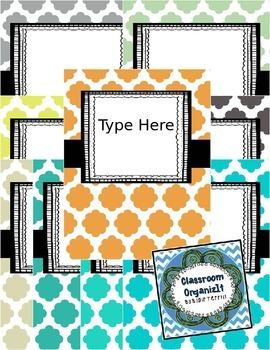 {Editable} Quatrefoil Binder Covers w/Doodle Frames! Set 5
