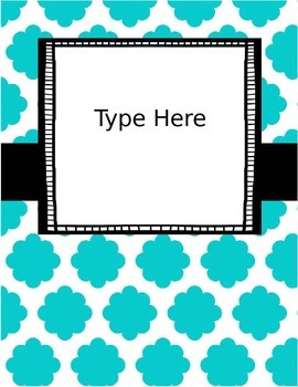 {Editable} Quatrefoil Binder Covers w/Doodle Frames! Set 8