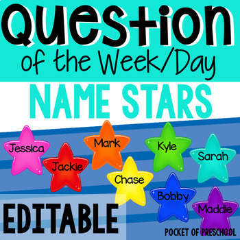 Editable Question of the Day/Week Stars FREEBIE