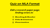 Editable Quiz on MLA Format: Edit a Page for Errors