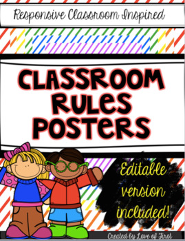 Editable RAINBOW Classroom Rules Posters-Responsive Classroom Inspired