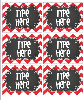 Editable RED Chevron Tags- with Chalkboard- 6 classroom tags