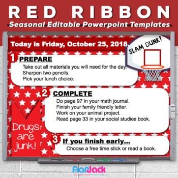 Editable RED RIBBON WEEK Morning Work PowerPoint Templates