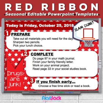 Editable RED RIBBON WEEK Morning Work PowerPoint Templates